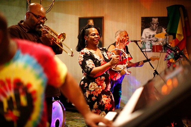 The Flow Band performs at the Indigo Hotel in East Liberty. - CP PHOTO: JARED WICKERHAM