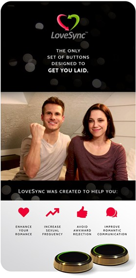 An advertisement for LoveSync