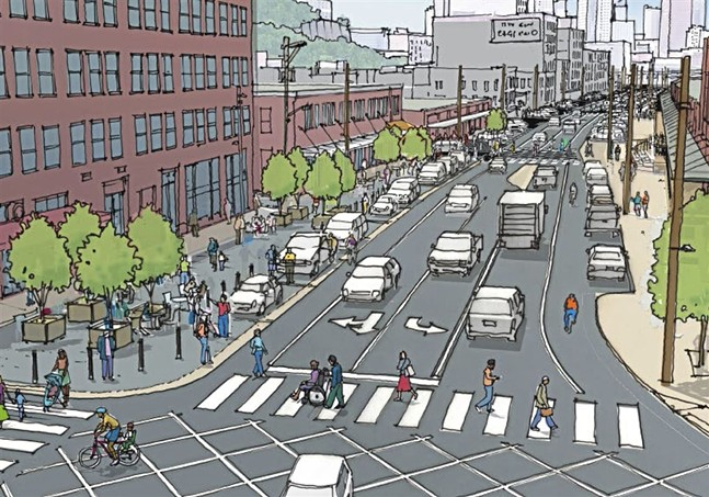 Drawings of Smallman Street redesign - IMAGE COURTESY OF CITY OF PITTSBURGH