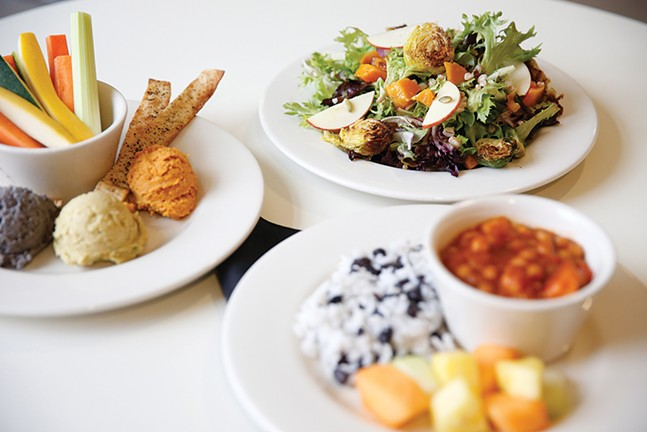 A seasonal hummus plate, harvest salad, and Cuban chickpea vegan stew from Café Phipps - CP PHOTO: JARED WICKERHAM