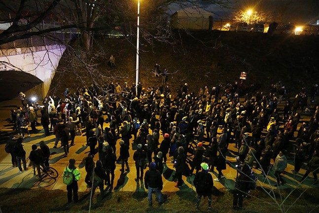 The crowd in East Liberty swelled to about 400. - CP PHOTO: JARED WICKERHAM