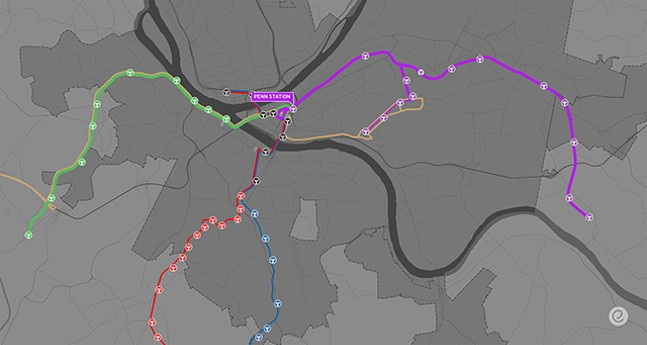 Mock-up of how the busways could be marketed, with the Purple Line going east and the Green Line going west. - IMAGE COURTESY OF PCRG