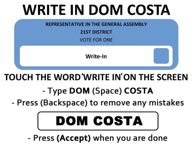 POST FROM WRITE IN: DOM COSTA FACEBOOK GROUP