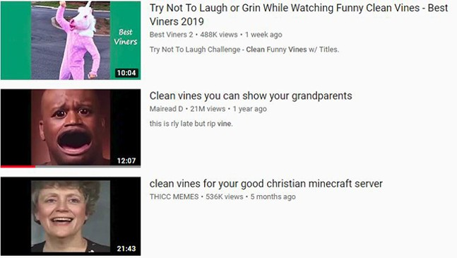 Clean vines only - SCREENSHOT OF YOUTUBE