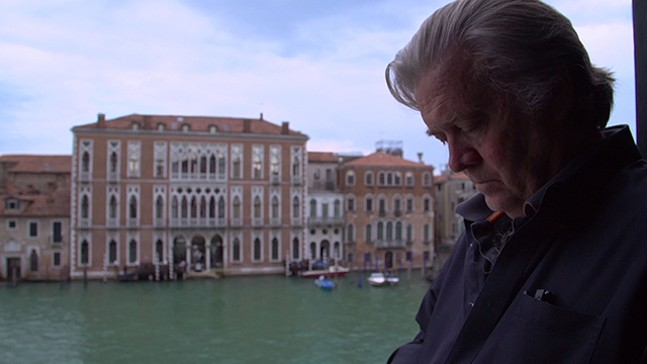 Steve Bannon in Venice, in between sips of Red Bull - PHOTO: MAGNOLIA PICTURES