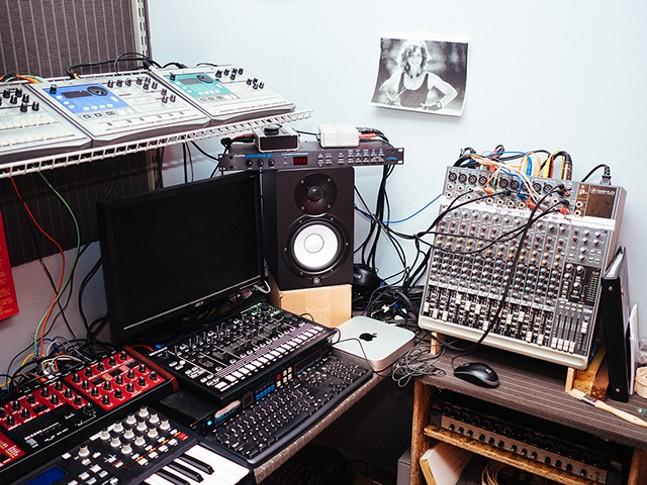 Pittsburgh-based DJ Naeem's recording setup in Machine Age - CP PHOTO: JARED MURPHY