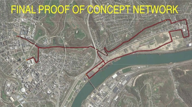 Proposed route of Mon-Oakland Connector - SCREENSHOT FROM MON-OAKLANDMOBILITY.COM