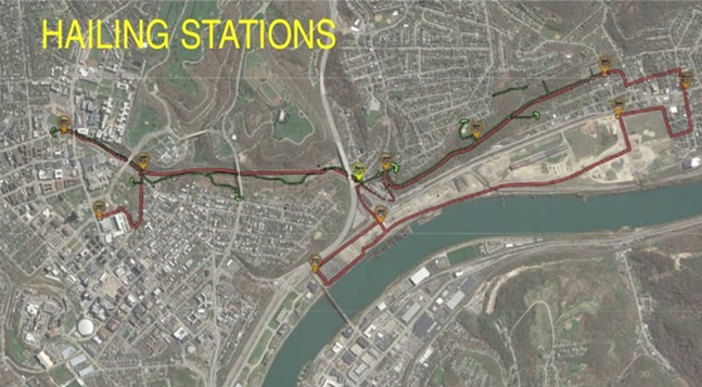 Proposed route with hailing stations - SCREENSHOT FROM MON-OAKLANDMOBILITY.COM