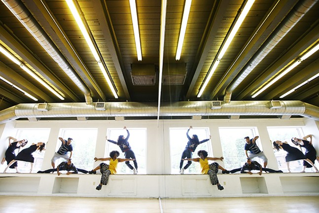 newMoves dancers (L-R) inside the KST Alloy Theater: Taylor Knight, Anna Thompson, Nick Daniels, Trevor C. Miles, Staycee Pearl, and Jessica Marino - CP PHOTO: JARED WICKERHAM