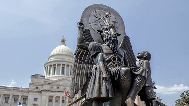 Baphomet in front of the Arkansas state capitol building - MAGNOLIA PICTURES