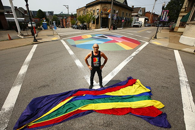 Richard Parsakian at the public art installation on Ellsworth in Shadyside - CP PHOTO: JARED WICKERHAM