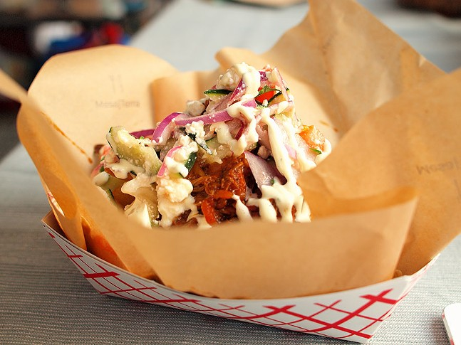 "Kokkinisto ""Everything"" double-cooked fries from last week's Night Market - PHOTO: MATTHEW MANOWSKI"