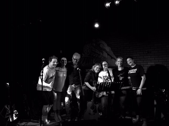 Damaged Pies' new lineup. Left to right: Mark Pintea, Megan Paullet, Steve Bodner, Marjie Pintea, Jerri Collins, Amy Withrow, Jenna DiFrancisco - PHOTO: DEBRA BODNER