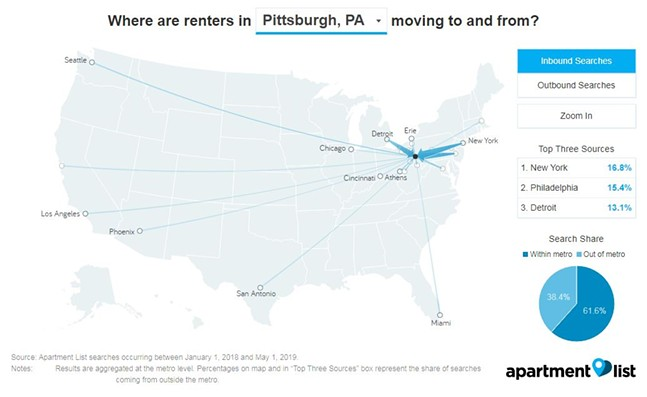 A map showing who from outside of Pittsburgh is searching for places to live in the city - SCREENSHOT FROM APARTMENTLIST.COM
