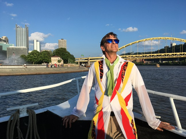 Attack Theatre co-founder and artistic director, Peter Kope, on the Pittsburgh Luxury Cruises' Fantasy - PHOTO: ATTACK THEATRE