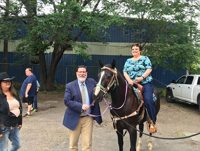 Bill Peduto and Darlene Harris at the groundbreaking ceremony for Allegheny Stables - PHOTO: JAMES HILL