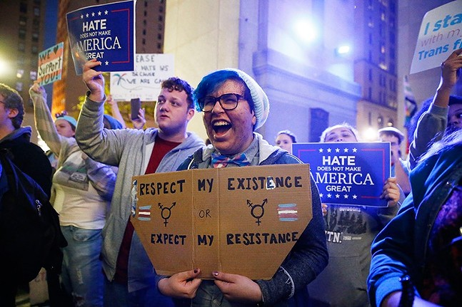 Trans-rights rally in Downtown Pittsburgh in 2018 - CP PHOTO: JARED WICKERHAM