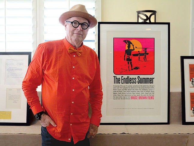 John Van Hamersveld with his original The Endless Summer poster design