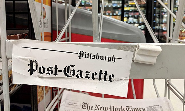 An empty Pittsburgh Post-Gazette rack in Downtown - CP PHOTO: LISA CUNNINGHAM