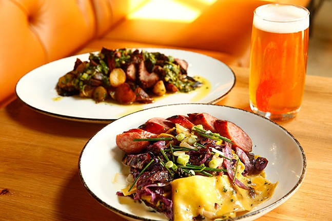 Haluski and smoked tri tips with a Tracks Again Unfiltered Pilsner beer - CP PHOTO: JARED WICKERHAM
