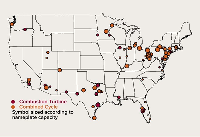 Announced gas-fired generation projects - IMAGE COURTESY OF ROCKY MOUNTAIN INSTITUTE