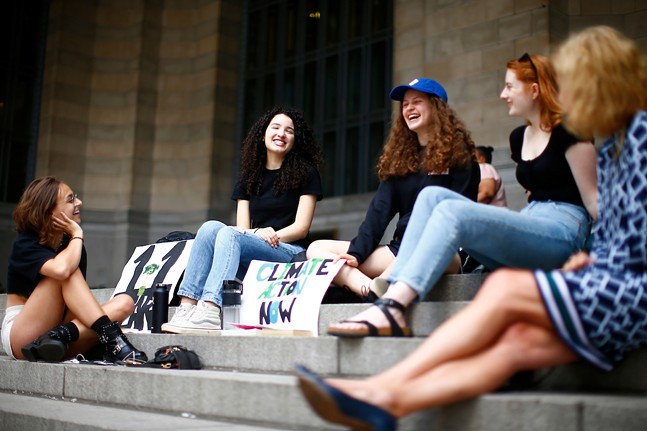 Leandra Mira (center) and other students at Fridays For Future climate event in June - CP PHOTO: JARED WICKERHAM