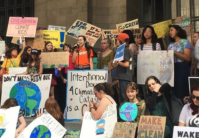Anaïs Peterson Fossil Free Pitt speaks at Pittsburgh Global Climate Strike - CP PHOTO: AMANDA WALTZ