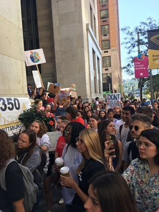 Crowds gathered around the City-Council Building for the Global Climate Strike in Pittsburgh - CP PHOTO: AMANDA WALTZ