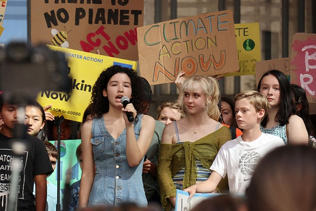 Environmental activist Leandra Mira addresses the crowd at the Global Climate Strike in Pittsburgh. - CP PHOTO: JOIE KNOUSE