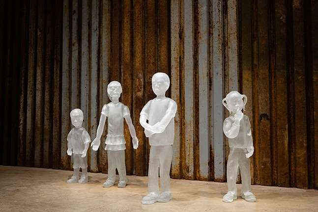 The life-size glass sculptures depict children who have been affected by border crossing, family separation, and detainment camps. - NATHAN J. SHAULIS
