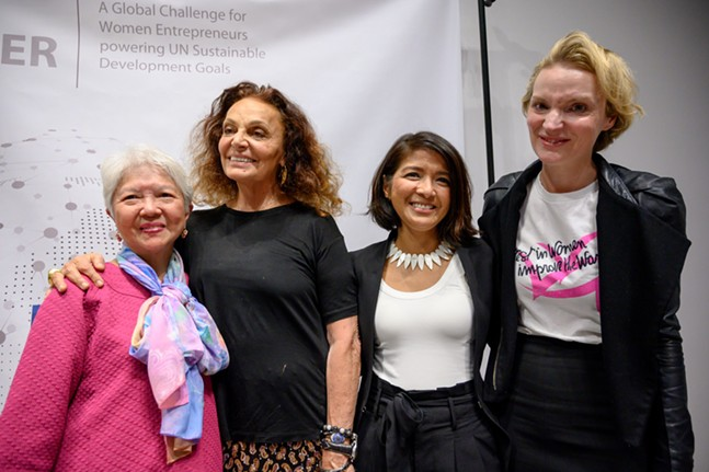 Leah Lizarondo (center right) with her mother, Zenaida, Diane Von Furstenberg, and Vital Voices CEO Alyse Nelson. - PHOTO: HARDPIN FOR VITAL VOICES