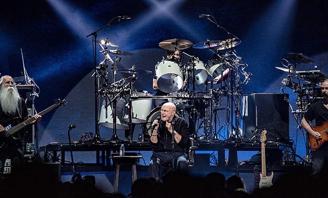 Phil Collins on stage at PPG Paints Arena on Wed., Oct. 2, 2019 - CP PHOTO: MIKE PAPARIELLA