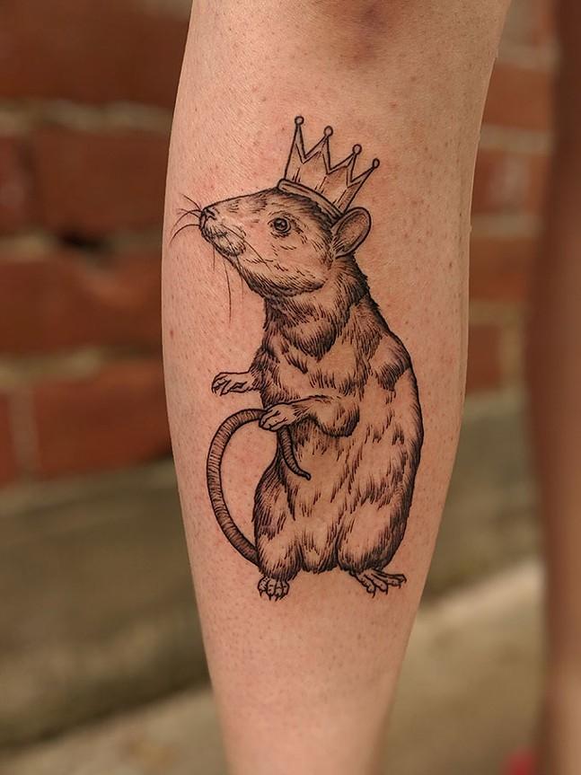 Rodent tattoo by Jessi Cramer at Curiosity Shop Tattoo