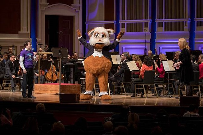 The Pittsburgh Symphony Orchestra's Fiddlesticks in action with (L) Resident Conductor Andrés Franco and (R) guest vocalist Katy Williams. - ED DEARMITT/PITTSBURGH SYMPHONY ORCHESTRA.