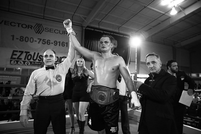 Lyubomyr Pinchuk wins the PA state title belt. - CP PHOTO: JARED WICKERHAM