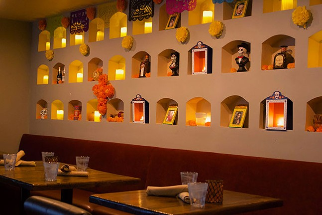 El Día de Los Muertos decorations inside Tocayo - CP PHOTO: JOIE KNOUSE
