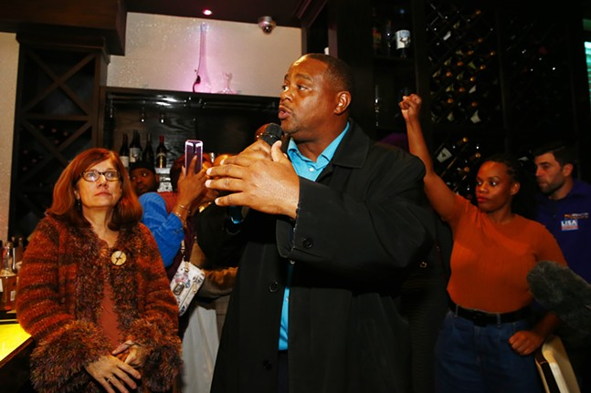 Ed Gainey speaks to the crowd during Lisa Middleman's election party at Savoy. - CP PHOTO: JARED WICKERHAM