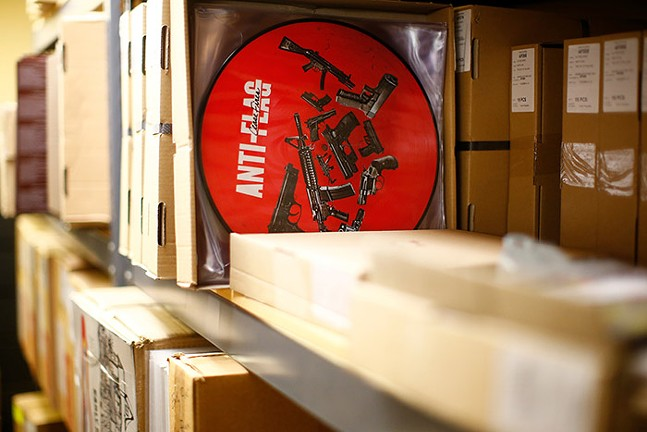 An Anti-Flag record sits packaged at A-F Records - CP PHOTO: JARED WICKERHAM