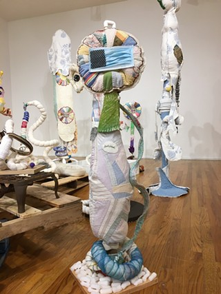 Mixed material sculptures by Michelle Browne at What Have We Done. - PHOTO: TINA DILLMAN