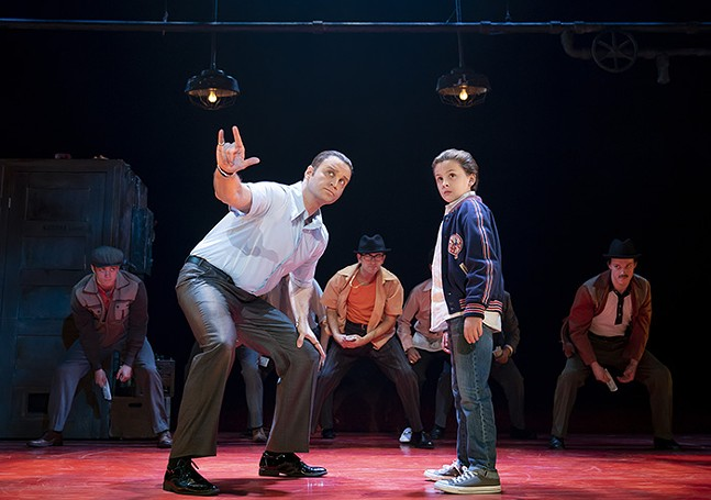 Jeff Brooks as Sonny, Trey Murphy as Young C, and the cast of A Bronx Tale - PHOTO: JOAN MARCUS