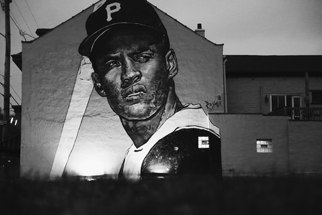 Roberto Clemente mural by Jeremy Raymer in the North Side - PHOTO: JARED WICKERHAM
