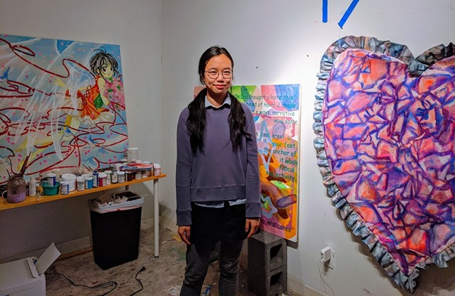 Bunker Projects artist-in-residence Veda Sun with work for her Lonely and Gorgeous Tears solo exhibition. - CP PHOTO: AMANDA WALTZ