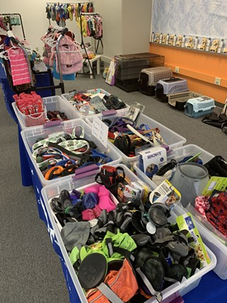 Donated items at the Thrifty Paws pop-up store. - HUMANE ANIMAL RESCUE