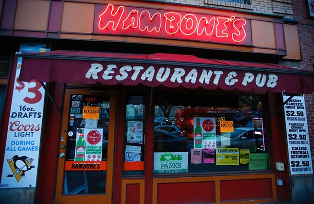 Hambone's on Dec. 12 after being closed by order of the Allegheny County Treasurer - CP PHOTO: JARED WICKERHAM