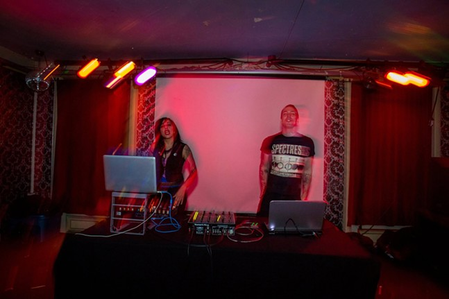Erica Moulinier (left) and Aaron Grey (right) DJing at their Second Skin dance night - PHOTO: PLAY ALONE RECORDS