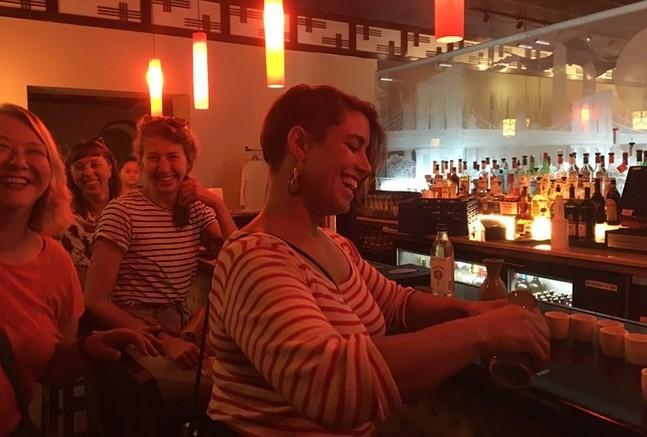 Sara Innamorato pours sake at the Waterworks Ichiban Hibachi & Sushi Bar - CP PHOTO: AMANDA WALTZ