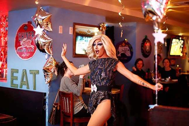 Miss V performs during Franks N' Queens drag brunch. - CP PHOTO: JARED WICKERHAM