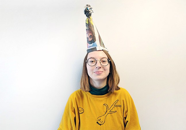 It's CP writer Hannah Lynn's birthday and everyone deserves a newspaper party hat on their birthday! - CP PHOTO: ABBIE ADAMS