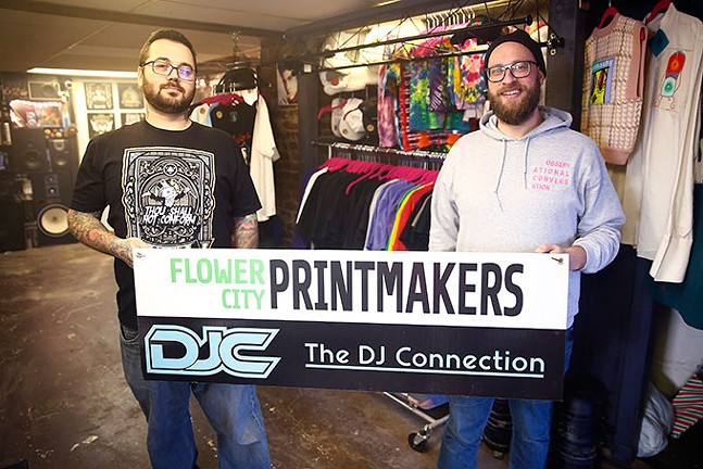 T.J. Harris, owner of The DJ Connection, and Josh Snider, owner of Flower City Printmakers - CP PHOTO: JARED WICKERHAM