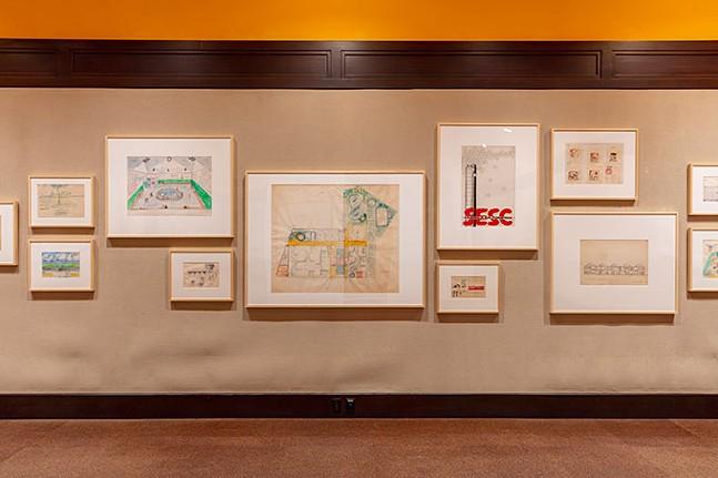 Installation view of Lina Bo Bardi Draws, 2019, Carnegie Museum of Art. - PHOTO: TOM LITTLE